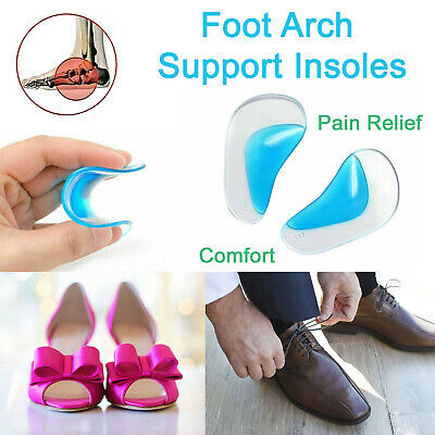 Foot Arch Support Insoles Orthotic Pain Relief Gel Silicone Pad Shoe Inserts • 2.75£