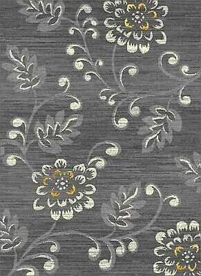 £49.95 • Buy Silver Rug Contemporary Floral Design Soft Low Pile Any Room Grey Cream Gold