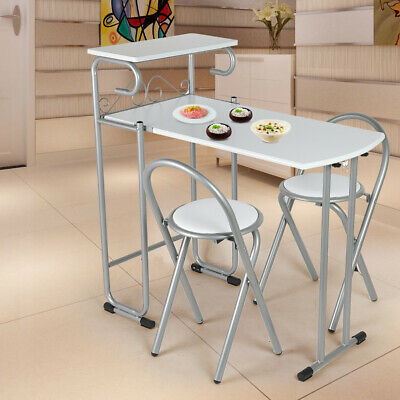 Folding Dining Set Portable Table And 2 Chairs Kitchen Patio MDF Silver • 79.99£