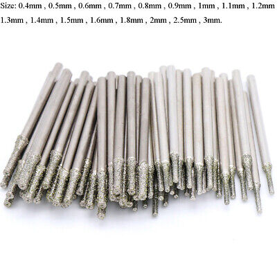 £1.49 • Buy 0.4-3mm Diamond Coated Tipped Drill Bit For Tile Jewellery Glass Pack Of 5/10/20