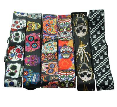 $ CDN13.20 • Buy Skull Guitar Strap Polyester Woven Leather Head 2'' Wide