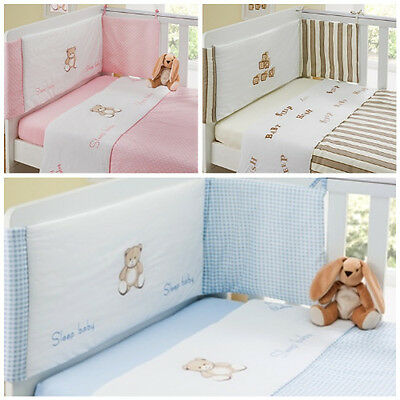 Luxury 3 Piece Cot Bedding Set Baby Bale Bumper, Quilt & Fitted Sheet-Boys/Girls • 14.99£