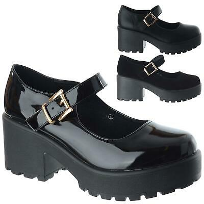 Ladies Womens Mid High Block Heel Classic Chunky Mary Jane Platform Shoes Size • 24.99£