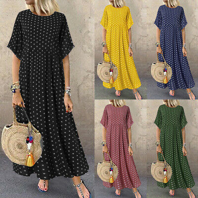 AU15.63 • Buy ZANZEA Women Short Sleeve Vintage Retro Plus Size Maxi Sundress Polka Dot Dress