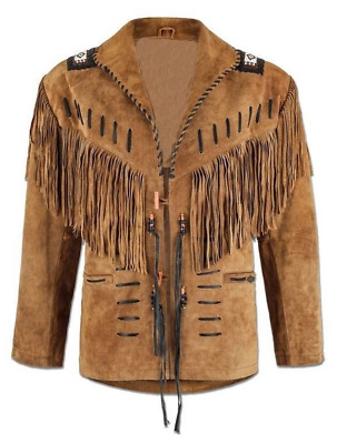 $84.99 • Buy Men Tan Brown Suede Western Hunter Style Cowboy Leather Jacket With Fringe