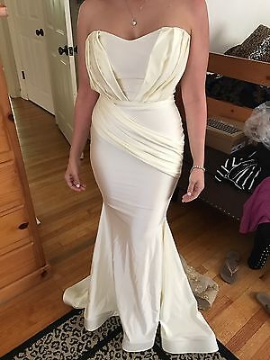 £250.55 • Buy Walter Collection Evening Gown NINA Dress Strapless Ivory Gold Lace Beyoncé NEW