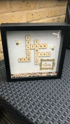 Personalised Family Scrabble Letters Box Frame Picture • 15.99£