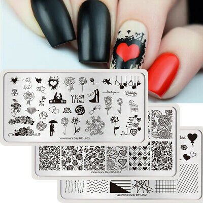$10.99 • Buy 3Pcs BORN PRETTY Nail Art Stamping Plates Set Rectangle Flower Image Template
