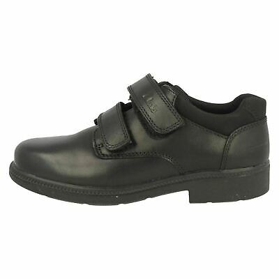 New Boxed Clarks School  DEATON  Childs Black Leather Shoes UK 7 Fit G EU 24 G. • 17.99£