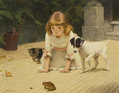 £24.77 • Buy Charles Burton Barber Little Girl Her Puppy And Kitten Watching A Toad    #4524