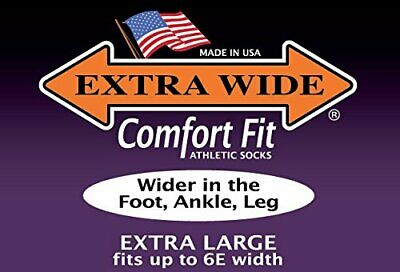 Extra Wide Comfort Athletic Crew Sport Socks MADE IN USA Big & Tall Biggest Sock • 7.33£