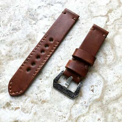 $ CDN64.38 • Buy 22mm Dark Brown Handmade Leather Band Compatible Apple Watch Fitbit Versa Ionic