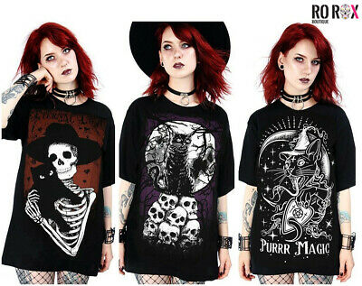 Restyle Gothic Wicca Witchcraft Cat Luna Moon Skull Oversized Top T-shirt Tee • 16.99£