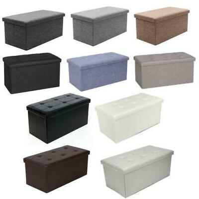 Large Faux Leather Folding Ottoman Pouffe Seat Foot Stool Storage Box • 18.49£