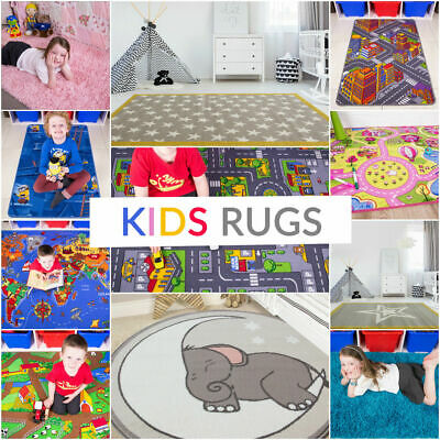 £24.95 • Buy Children's Rugs Kids Play Mat Girls Boys Fun Rug Pink Red Road World Learning