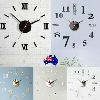 AU11.99 • Buy Large Wall Clock Big Watch Decal 3D Stickers Roman Numerals DIY Wall Modern Home