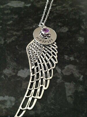 Personalised Hand Stamped Name Angel Wing Charm Necklace+Birthstone Custom Made • 12.20£