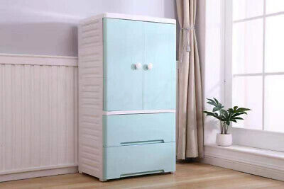 AU129.99 • Buy Large Wardrobe Tallboy Chest Of Drawers For Kids Bedroom Blue White 4 Wheels