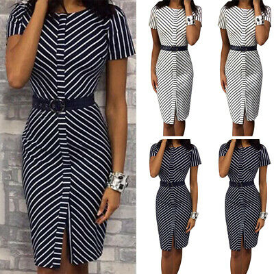 Womens Striped Bodycon Slim Dress Party Work OL Office Formal Short Sleeve Dress • 9.95£