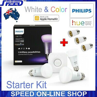AU225 • Buy Philips Hue White & Color Ambiance Starter Kit - (Bridge + 3xBulbs&B22 Adaptors)