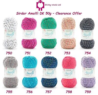 Sirdar Amalfi DK 50g Clearance Offer Includes Pack Offers • 1.85£