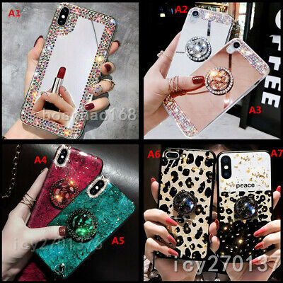 Bling Rhinestone Makeup Mirror Ring Stand TPU Back Phone Cases Covers For IPhone • 2.99£