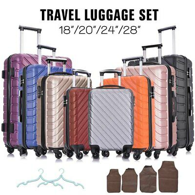 """View Details 4 Piece Travel Luggage Set Suitcase Spinner Hardshell Business Case 18""""20""""24""""28"""" • 100.90$"""