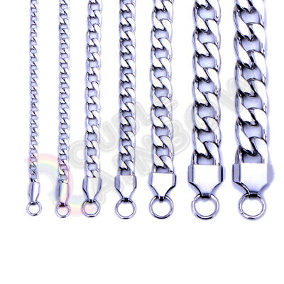 $5.98 • Buy Men's Women's Stainless Steel Necklace Silver Cuban 3-12mm Chain Link C08
