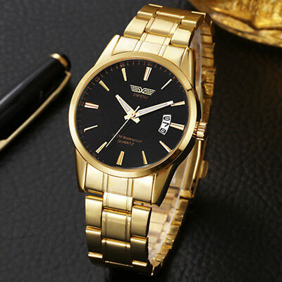 AU14.57 • Buy Men's Luxury Stainless Steel Band Watch Casual Analog Quartz Gold Wrist Watches