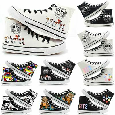Mens Womens BTS Sneakers Casual Canvas Shoes Chuck Taylor High Top Trainers • 15.99£