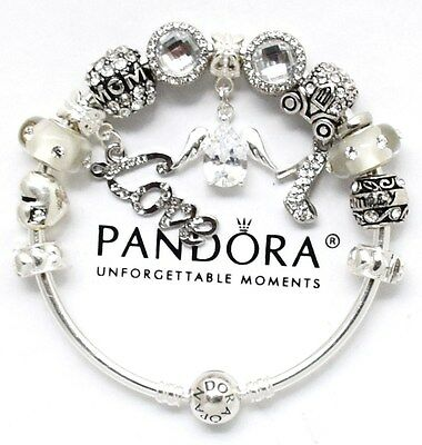 AU114.89 • Buy Authentic PANDORA Bracelet Silver ANGEL MOM Family With European Charms New