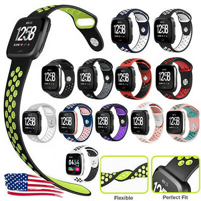 $ CDN5.96 • Buy Large Sport Rubber Bracelets Fitness Silicone Bands With Holes For Fitbit Versa