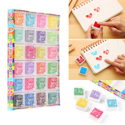 24 Colors Rubber Stamps Pigment Ink Pads For Paper Wood Fabric Craft • 4.19£