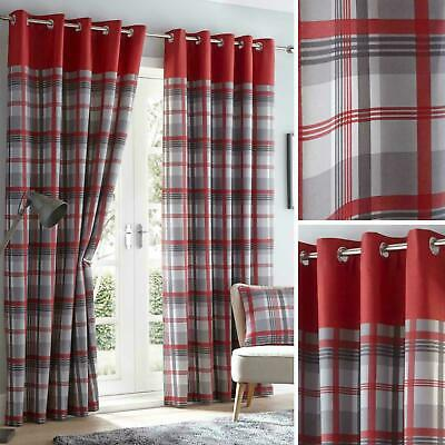Red Eyelet Curtains Tartan Check  Modern Ready Made Lined Ring Top Pairs • 19.99£