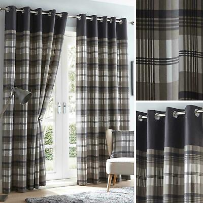 Grey Eyelet Curtains Tartan Check Modern Ready Made Lined Ring Top Pairs • 24.99£