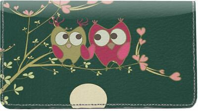 Owl Couple Leather Checkbook Cover • 16.52£