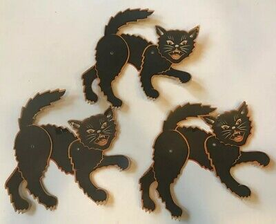 $ CDN52.83 • Buy True Vintage Halloween Black Cat Articulated Cardboard Decoration Lot