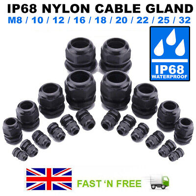 £1.58 • Buy Ip68 Waterproof Black Cable Gland Compression Junction M8/1012/16/18/20/22/25/32