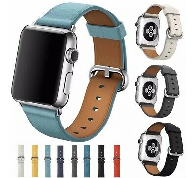 AU9.95 • Buy For Apple Watch Series 5 4 3 2 1 Leather Watch Band Strap Classic Buckle Iwatch