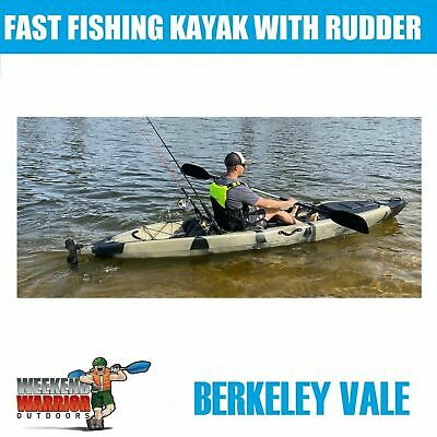 AU779 • Buy Fishing KAYAK With Rudder 4 Metre WITH Seat + Paddle SUPER FAST Camo Or Beige