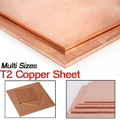 £19.75 • Buy T2 Copper Sheet Plate Conductive Metal Panel Cut Tool 0.8/1/1.5/2/3/4/5mm Thick