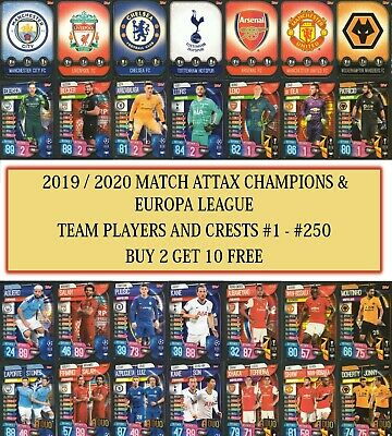 Topps Match Attax 2019 2020 19 20 Champions / Europa League Team Cards #1 - #250 • 0.99£