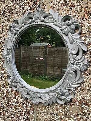 51cm Vintage Grey Round Wall Mirror Rustic Grey Hallway Bathroom French Mirror • 21.99£