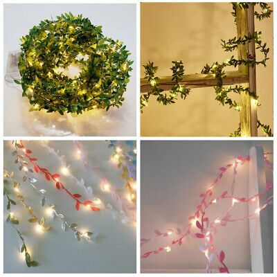 10M Green Leaves LED Garland Fairy String Lights Copper Wire  Wedding Xmas Decor • 1.89£