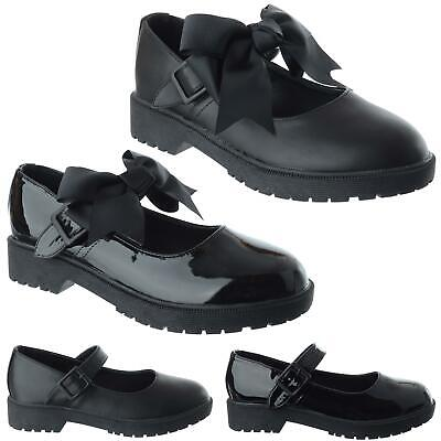 £14.99 • Buy New Ladies Girls Flat Low Mary Jane Ankle Strap Bow Dolly Work School Shoes Size