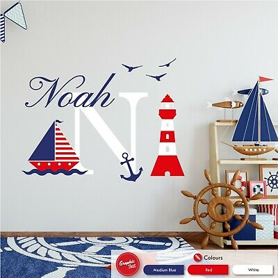 Personalised Boat & Nautical Children's Wall Sticker Vinyl Boys Bedroom Decal • 25.99£