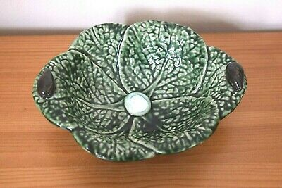 £16.99 • Buy Vintage Olfaire Portuguese Cabbage Porcelain Leaf Bowl - Majolica Hand Painted