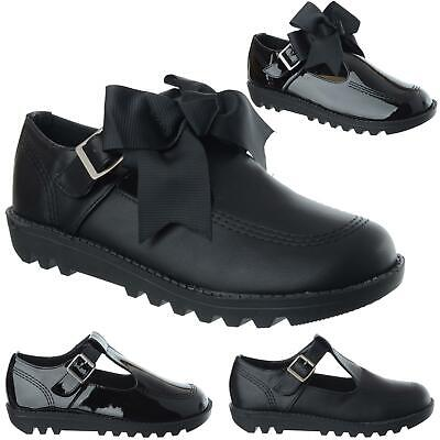 Womens Ladies Girls Flat T Bar Buckle Strap Bow Work School College Shoes Size • 14.99£