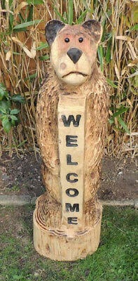 Chainsaw Carving Wooden Welcome Bear Made From Redwood Garden Sculpture • 250£