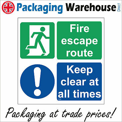 Fs233 Fire Escape Route Keep Clear At All Times Do Not Block Emergency Sign • 3.90£